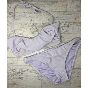 Lavender Xhilaration Ruffle Bandeau Bikini Set